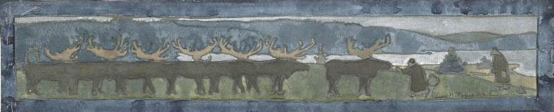 North. Deer (Sketch for the frieze in Talashkino). Roerich N.K. (Part 1)