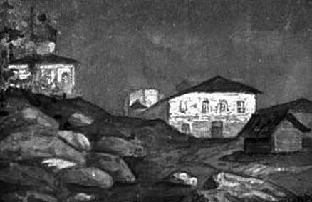 View with the church on the outskirts of the city. Roerich N.K. (Part 1)