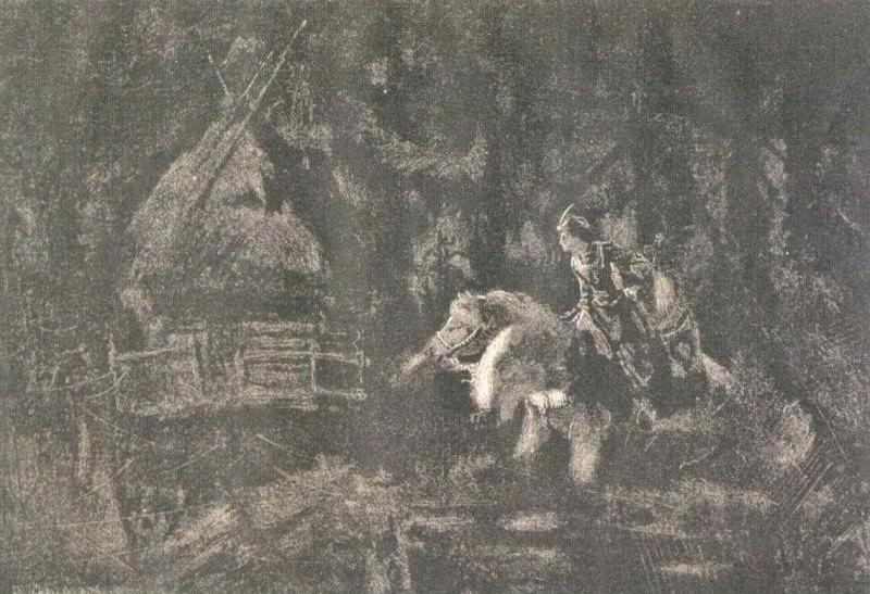 Ivan Tsarevich runs into squalid hut. Roerich N.K. (Part 1)