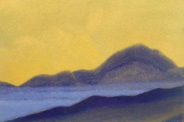 Himalayas # 82 Dawn purple hill. Roerich N.K. (Part 6)