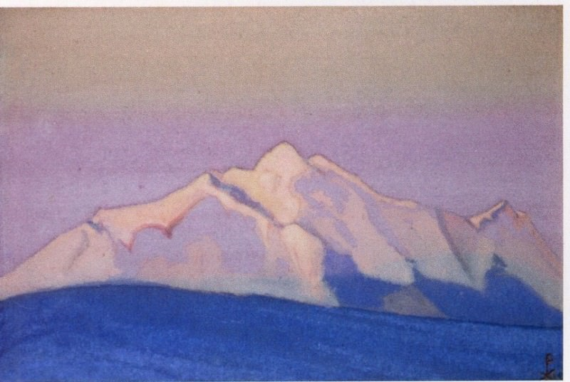 Himalayas # 151 Pink tops in the pink sky. Roerich N.K. (Part 6)