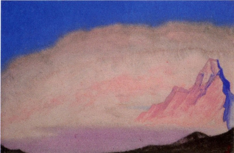 The Himalayas # 194 The Pink Glow. Roerich N.K. (Part 6)