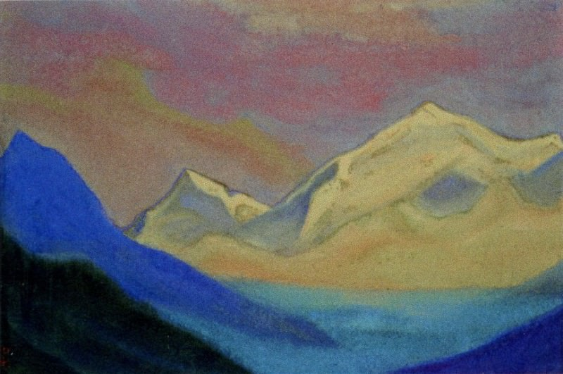 Himalayas # 79 Sunset sky above the tops. Roerich N.K. (Part 6)