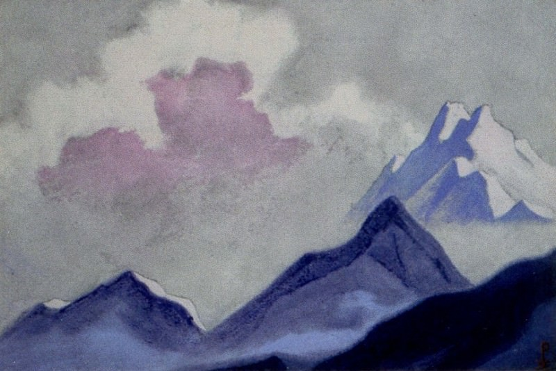 Himalayas # 16 Mountain range and clouds. Roerich N.K. (Part 6)