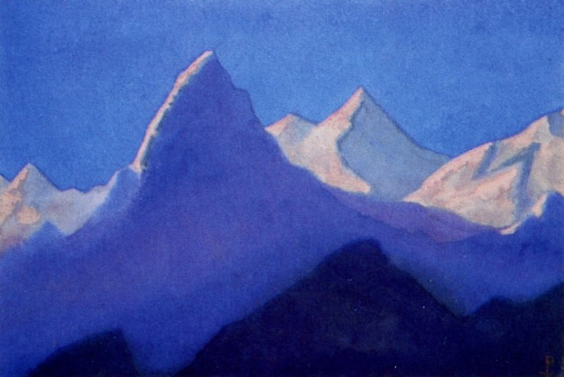 Himalayas # 125 Reflections of the evening dawn on snowy peaks. Roerich N.K. (Part 6)