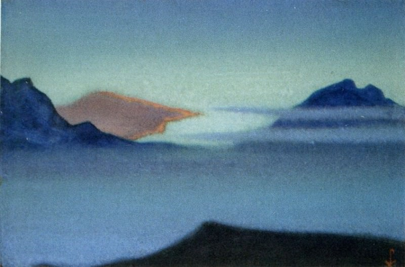 Himalayas # 51 Rdeyuschie clouds in blue mountains. Roerich N.K. (Part 6)
