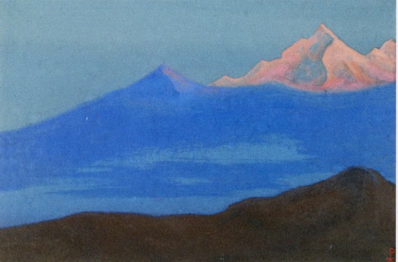 Himalayas # 42 A pink peak in a blue fog. Roerich N.K. (Part 6)