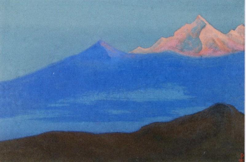 Гималаи #42 Розовая вершина в голубом тумане. Рерих Н.К. (Часть 6)