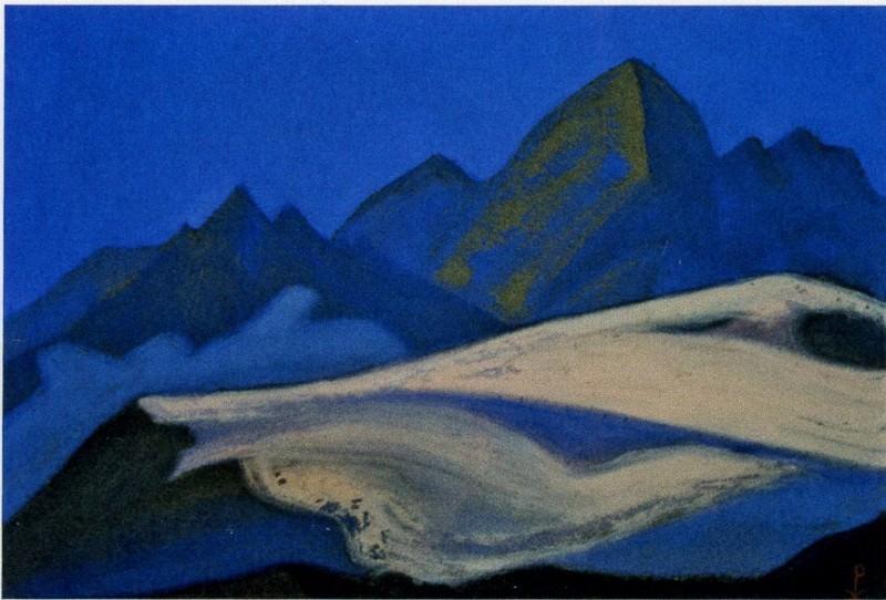 Himalayas # 95 Cliffs at dawn. Roerich N.K. (Part 6)