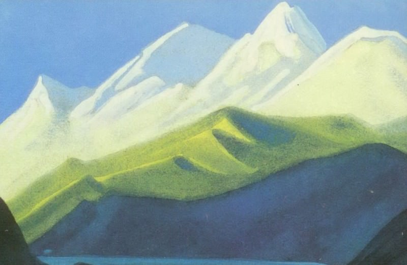 The Himalayas # 101 Green and pink peaks. Roerich N.K. (Part 6)