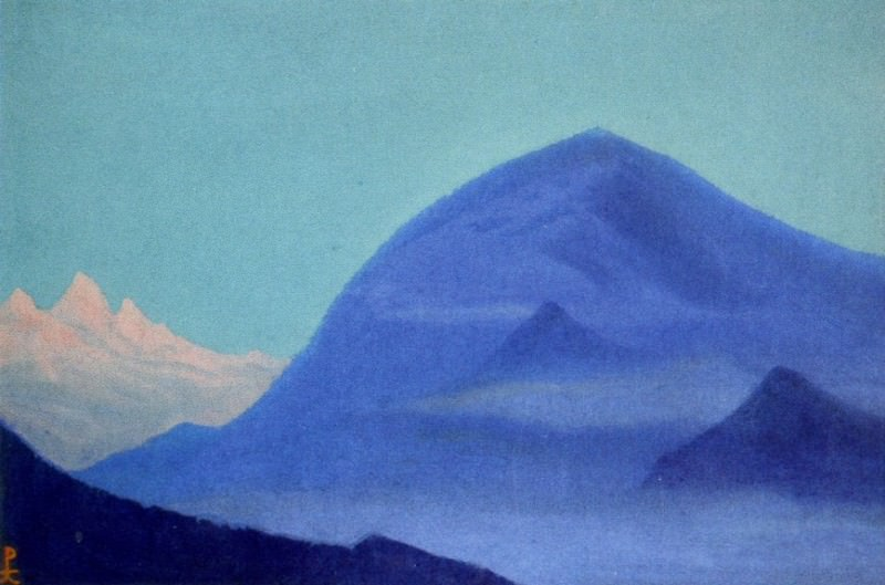 The Himalayas # 156 The blue peaks at dawn. Roerich N.K. (Part 6)