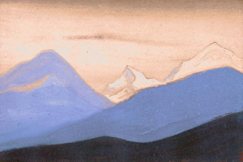 The Himalayas # 75 The Pink Evening Light. Roerich N.K. (Part 6)