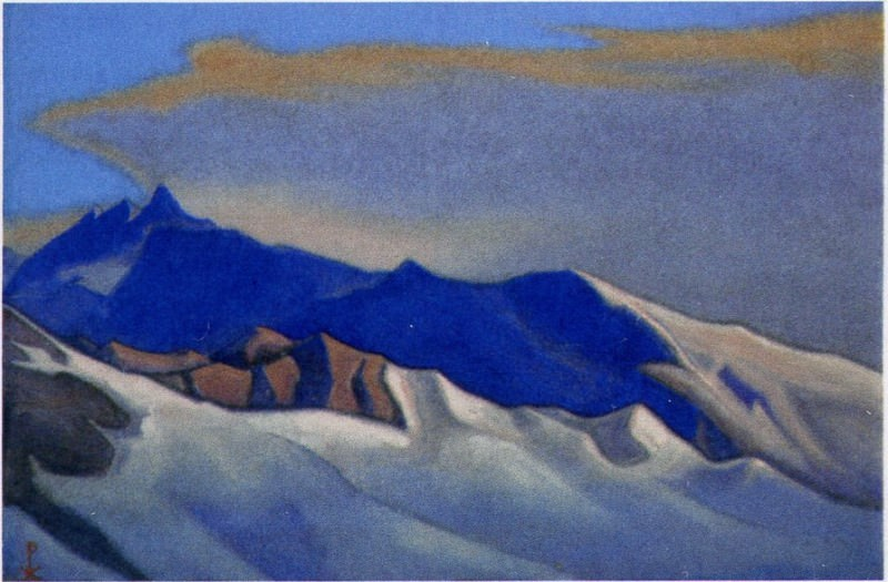 The Himalayas # 150 The gray cloud above the blue ridge. Roerich N.K. (Part 6)