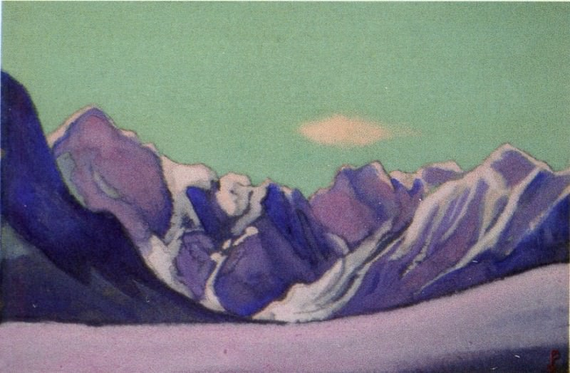 Himalayas # 159 Mountain ridge against the background of the green sky. Roerich N.K. (Part 6)