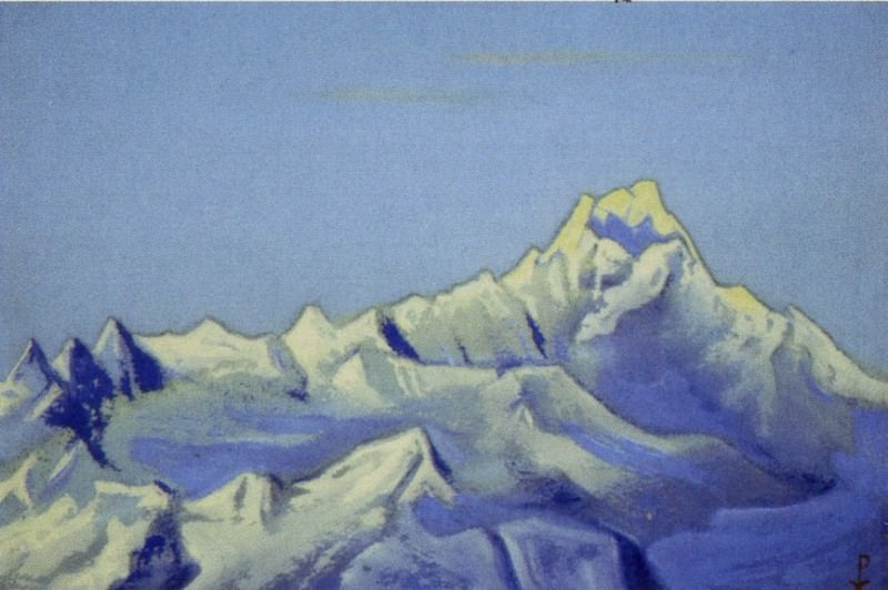 Siniolchu # 89 (blue peaks. Morning). Roerich N.K. (Part 6)
