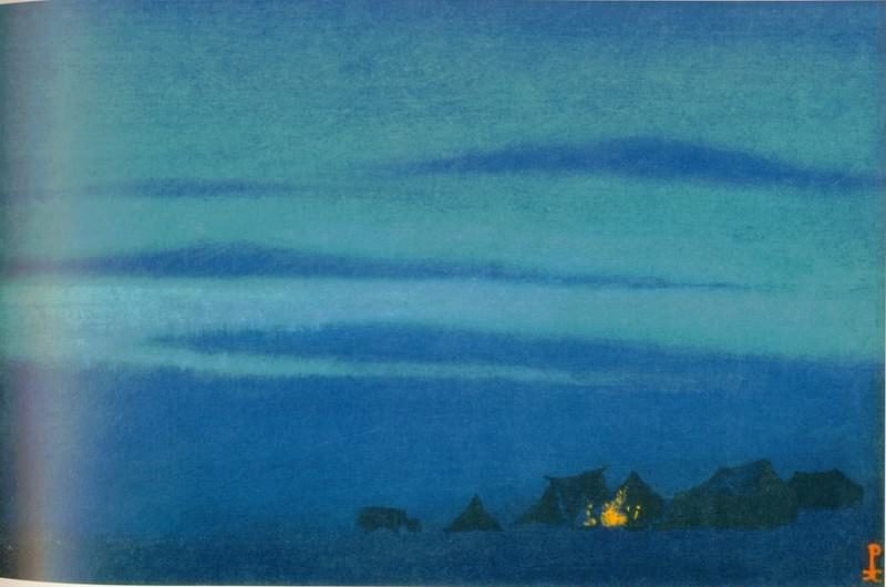 Tibetan Camp # 39 (Bonfire Night). Roerich N.K. (Part 6)