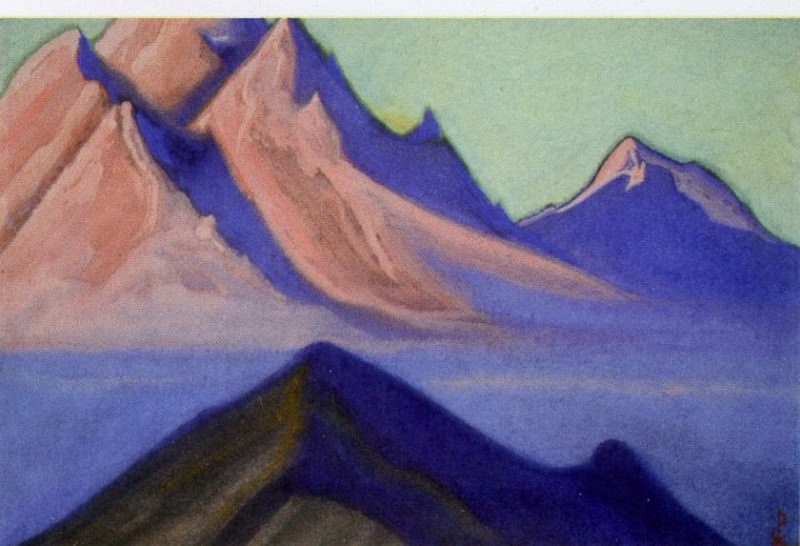 Tibet boundary # 105 (fog, descended from the top). Roerich N.K. (Part 6)