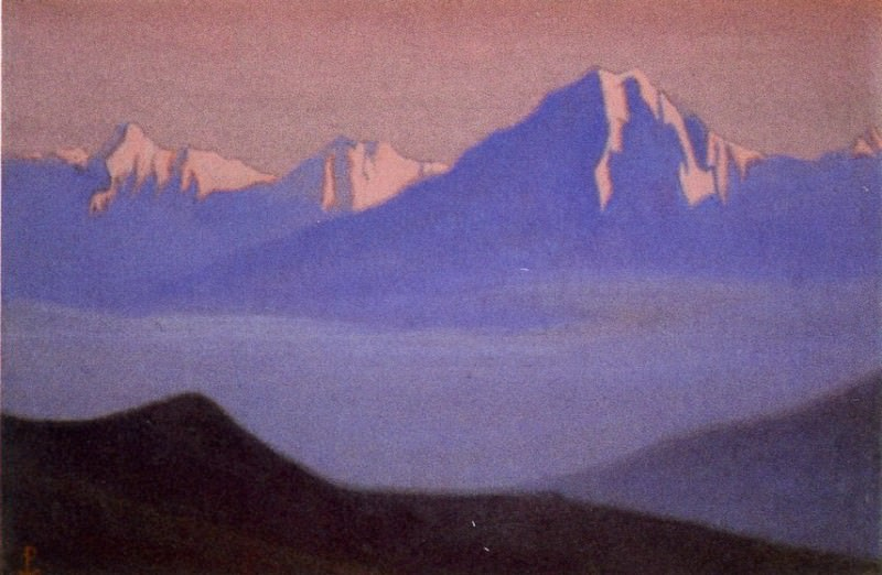Himalayas # 103 Lilac peaks in the pink light. Roerich N.K. (Part 6)