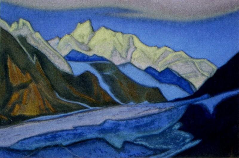 Гималаи #53 Глетчер на фоне горной гряды. Рерих Н.К. (Часть 6)