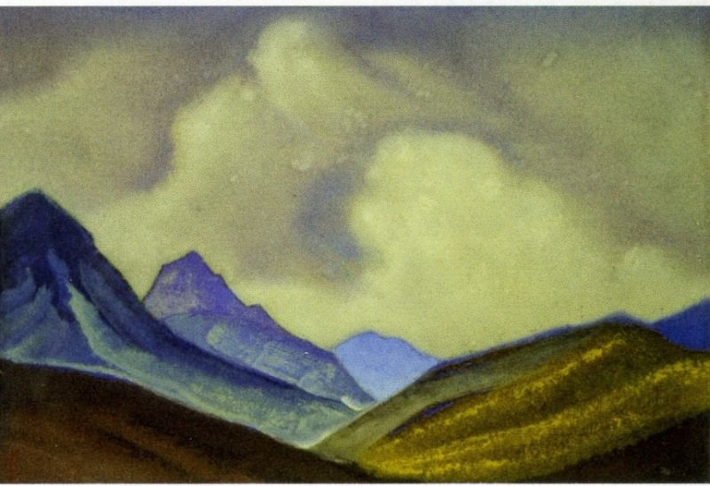 Mongolia # 199 (mountain slopes on the background cloud). Roerich N.K. (Part 6)