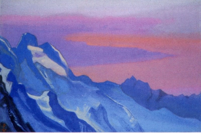 The Himalayas # 109 The blue ridge at sunset. Roerich N.K. (Part 6)
