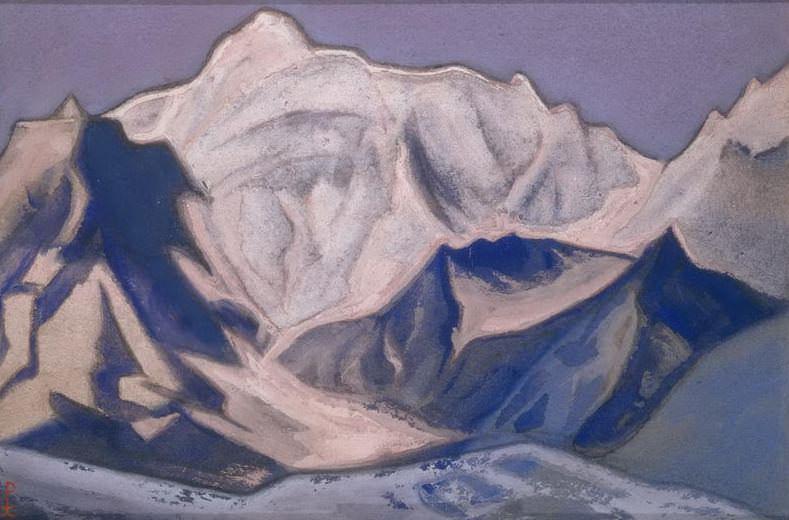 Бадринат #69 (Снежные вершины на закате). Рерих Н.К. (Часть 6)