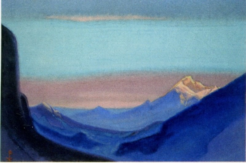 Himalayas # 49 Mountain pass at dawn. Roerich N.K. (Part 6)