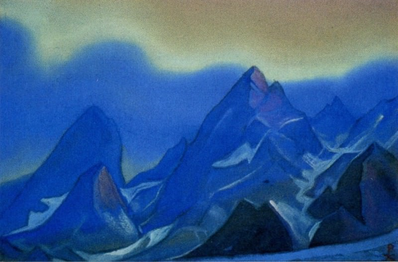Himalayas # 103 Rocky peaks against the blue sky. Roerich N.K. (Part 6)