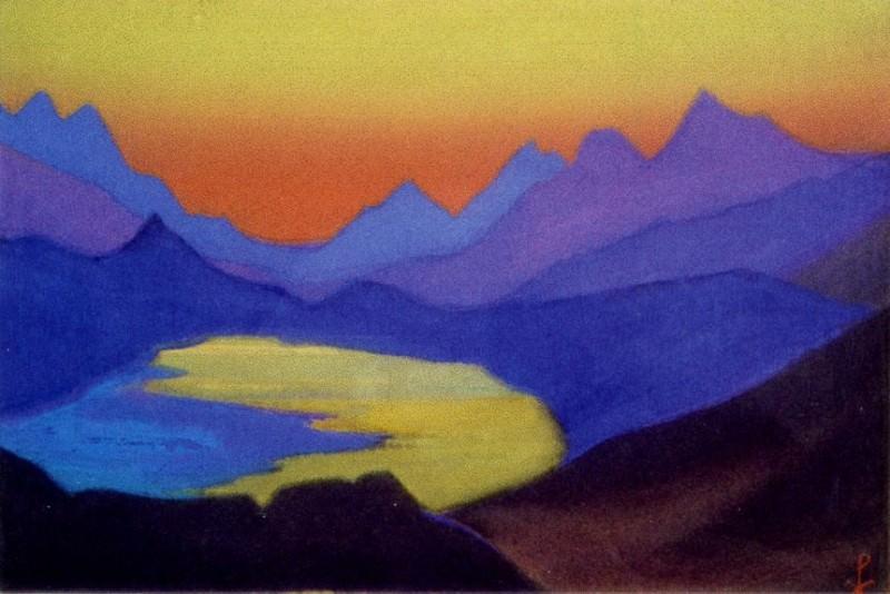 Himalayas # 26 Mountain lake at sunset. Roerich N.K. (Part 6)