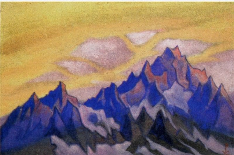 Himalayas # 22 Mountains of the mountains against the yellow sky. Roerich N.K. (Part 6)