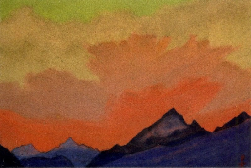 Himalayas # 54 glow over the mountain peaks. Roerich N.K. (Part 6)