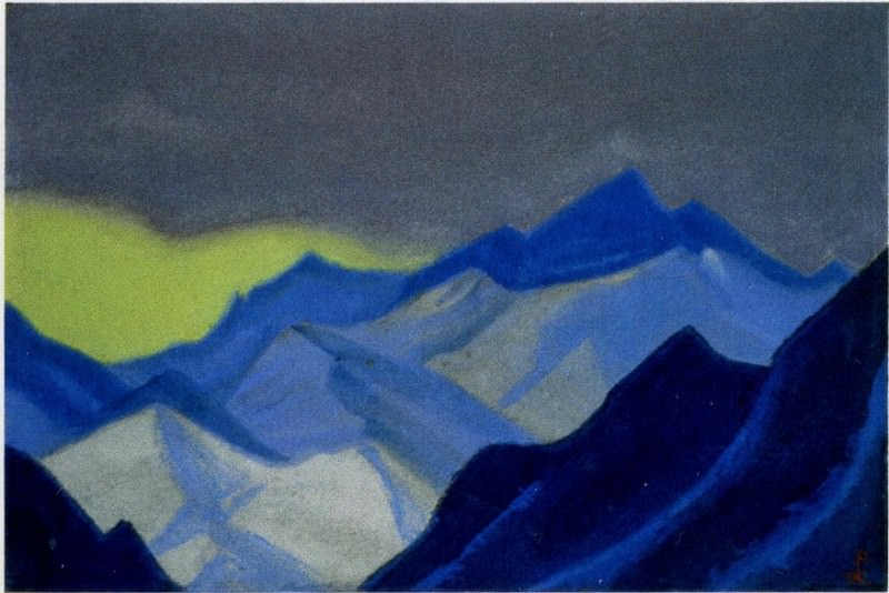 The Himalayas # 100 The skylight of the yellow sky in the mountains. Roerich N.K. (Part 6)