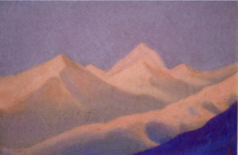 Sunset # 115 (Snowy peaks at dawn). Roerich N.K. (Part 6)