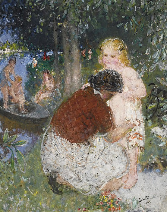 Pierre-Eugene Montezin - Bathing in Summer. Sotheby's