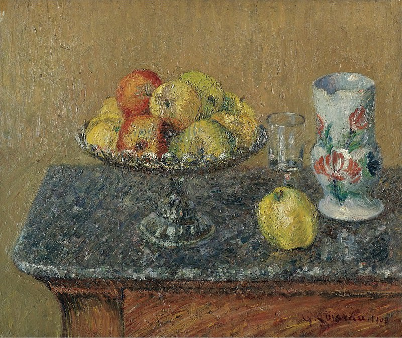 Gustave Loiseau - Fruit Bowl with Apples and a Jug, 1903. Sotheby's