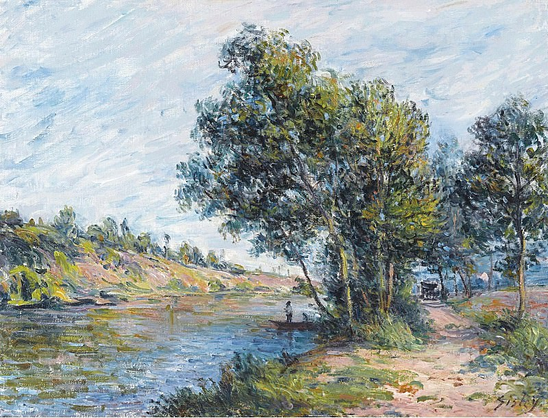 Alfred Sisley - The Road to Veneux and the Side of the Hill, 1881. Картины с аукционов Sotheby's