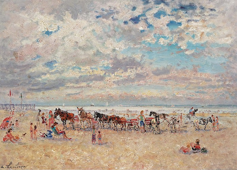 Andre Hambourg - Trouville, Warm Weather. Картины с аукционов Sotheby's