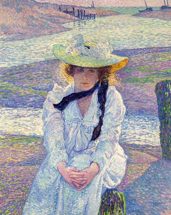 Theo van Rysselberghe - Young Woman on the Sand Shore, 1901. Sotheby's