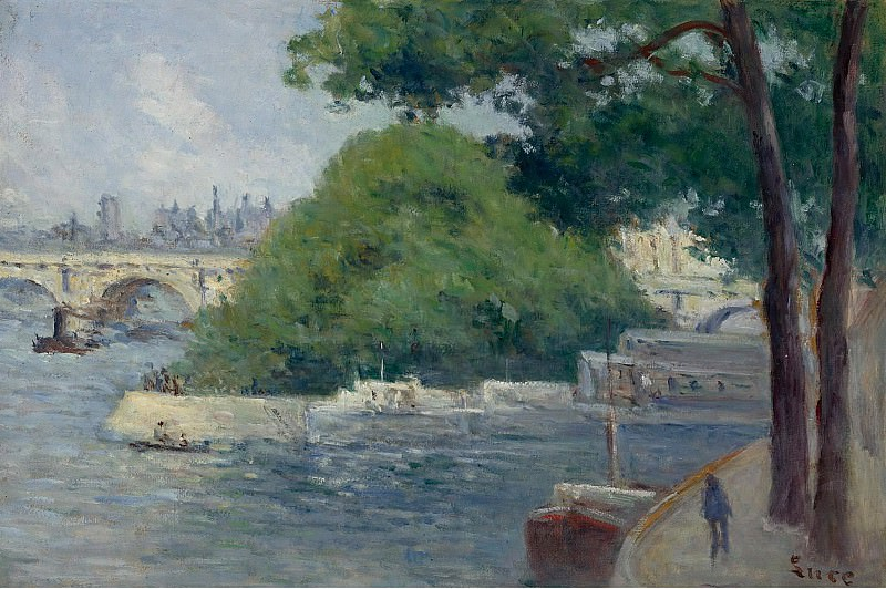 Maximilien Luce - The Banks of the Seine at Paris. Sotheby's