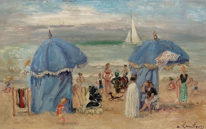 Andre Hambourg - The Beach at Trouville, 1951. Картины с аукционов Sotheby's