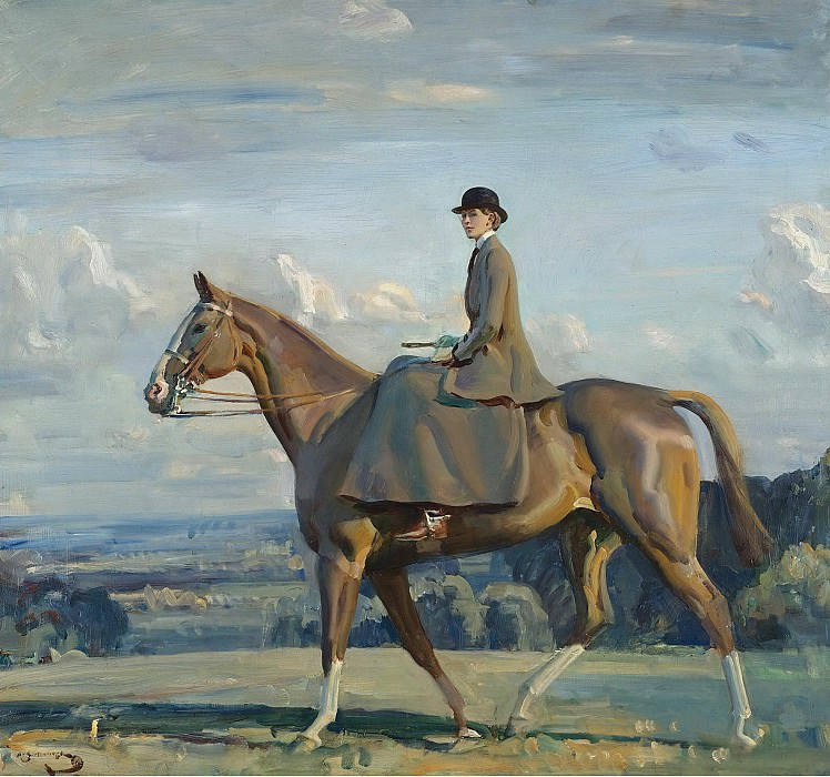 Alfred James Munnings - Portrait of Lady Barbara Lowther on Horseback. Sotheby's