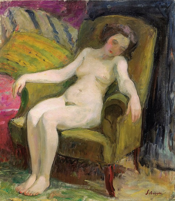 Henri Lebasque - Nude in Armchair. Картины с аукционов Sotheby's