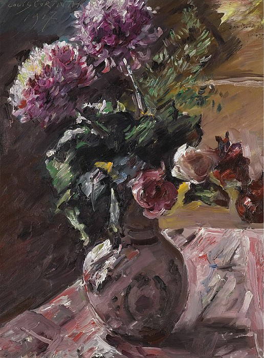 Lovis Corinth - Chrysanthemums and Roses in a Pitcher, 1917. Sotheby's