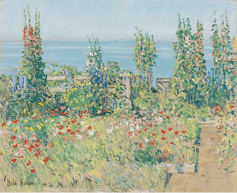 Frederick Childe Hassam - Hollyhocks, Isle of Shoals, 1902. Sotheby's