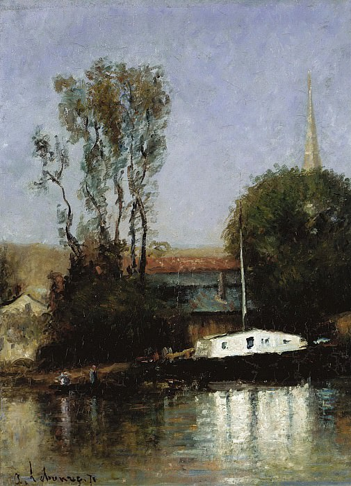 Albert Lebourg - A Boat on the Seine, 1871. Sotheby's