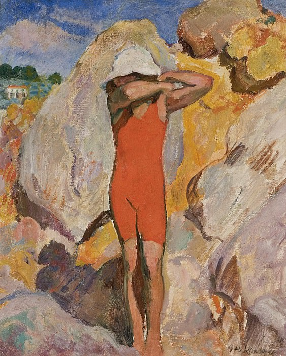 Henri Lebasque - Child in Red Tights. Sotheby's