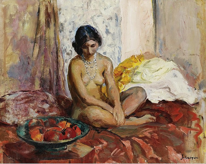 Henri Lebasque - Egyptian Woman with the Dish of Fruits, 1931. Sotheby's