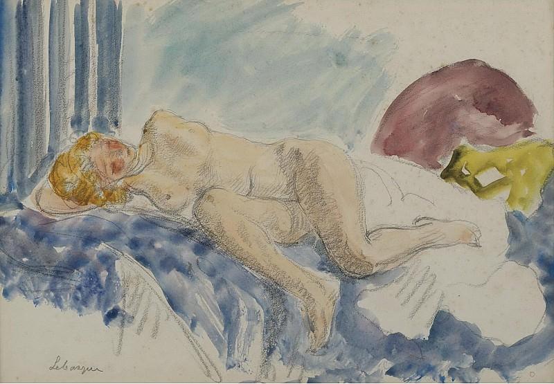 Henri Lebasque - Young Woman on Blue Sofa, 1920. Sotheby's
