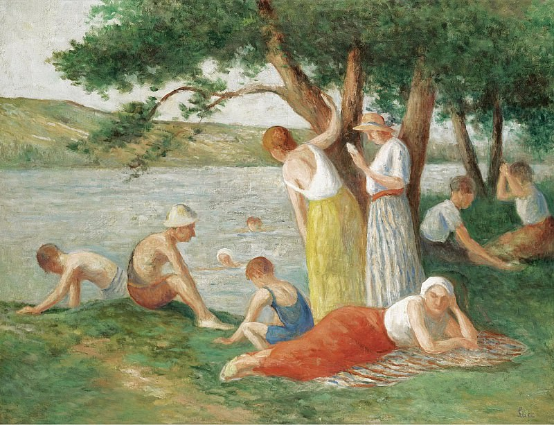 Maximilien Luce - Bathing at Rolleboise. Sotheby's