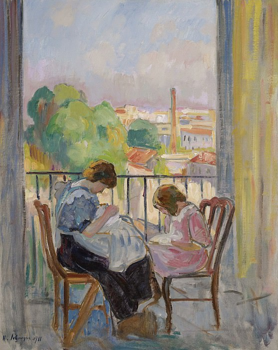 Henri Lebasque - Madame Lebasque and Her Daughter Sewing near the Window, 1911. Sotheby's
